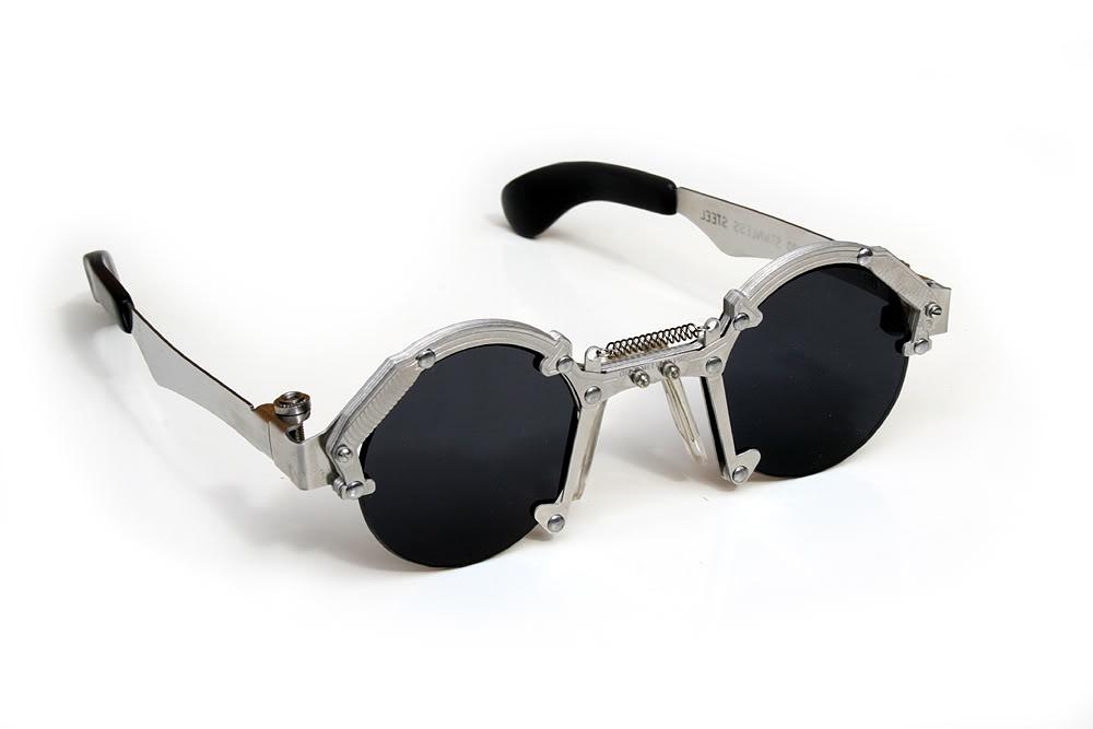 Unique Metal Eyeglass Frames : Hi Tek round silver metal sunglasses HT-cult-8 unusual ...