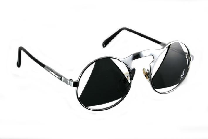 round silver metal frame sunglasses with cut out lenses Hi Tek | Hi ...