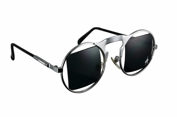 round silver metal frame sunglasses with cut out lenses Hi Tek