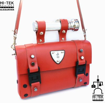 read leather shoulder bag, industrial design torch as handle, statement bag
