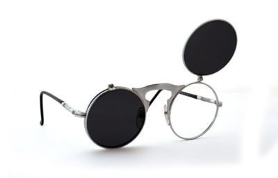 round flip up sunglasses Goth retro Steampunk style
