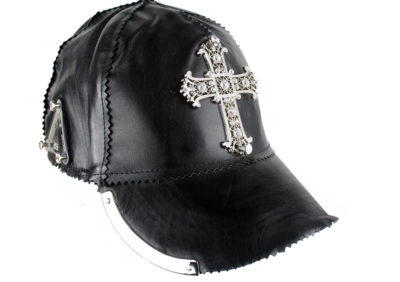 HI TEK  black leather baseball cap unusual unique