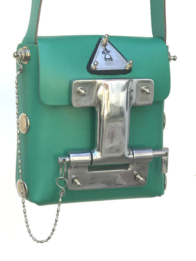 Hi Tek green leather crossbody bag small unisex unusual unique