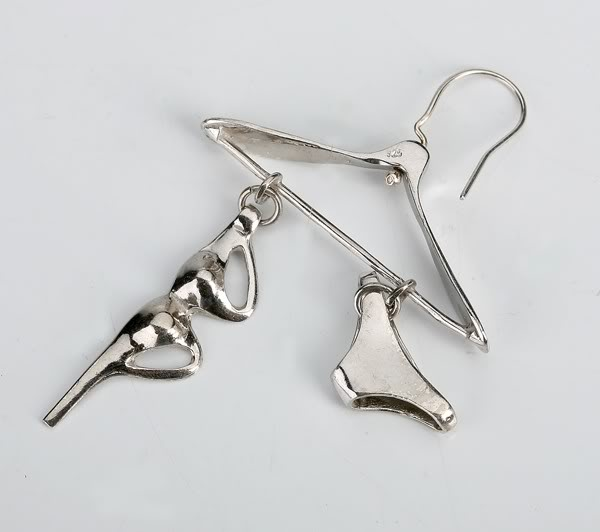 sterling silver earring in the shape of a hanger Hi Tek