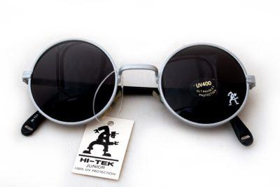 Hi Tek round silver sunglasses with black lenses John Lennon style HJL9