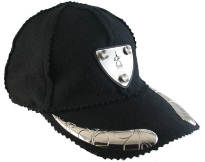black wool and cashmere baseball cap HI TEK unusual unique