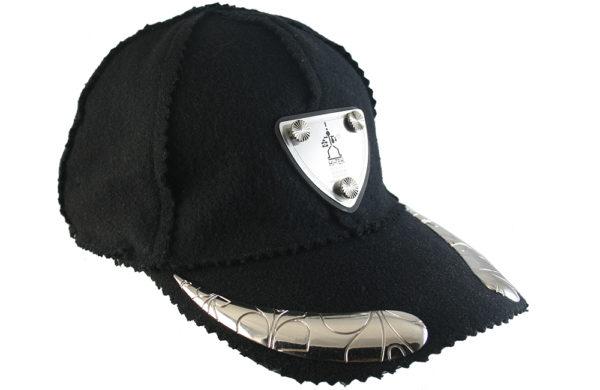 black wool baseball cap HI TEK unusual unique
