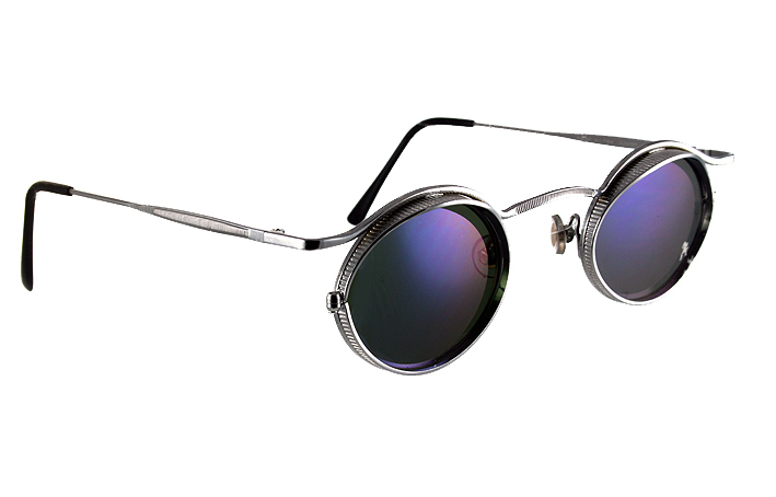 small oval metal frame sunglasses blue mirror lenses HI TEK HT-5090
