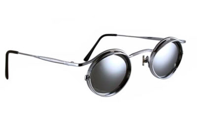 oval sunglasses silver metal polarized mirror lens HI TEK HT-5090