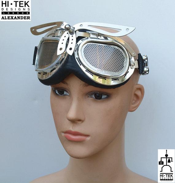 motorcycle aviator retro futuristic Steampunk Goggles Hi Tek
