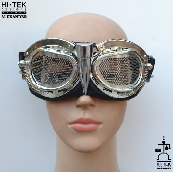 handmade retro futuristic motorcycle aviator Steampunk goggles gold metal wings Cosplay