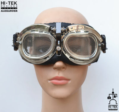 handmade Steampunk Goggles cross and black angel wings