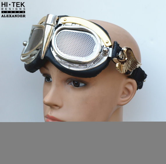 steampunk goggles gold wings