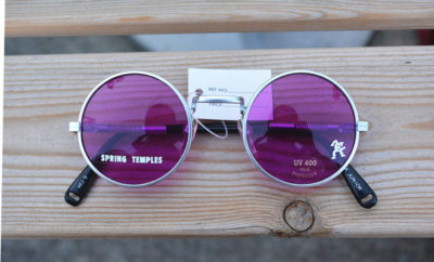 round sunglasses, silver frame with purple pink lenses