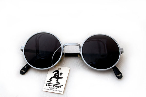 fast delivery exclusive range newest Hi Tek round silver sunglasses with black lenses John Lennon style ...