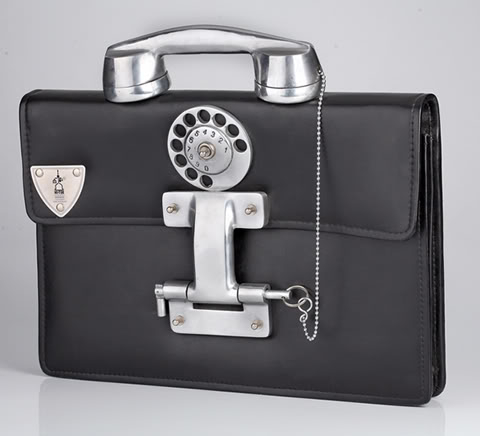 retro futuristic steampunk high quality leather briefcase aluminium telephone handle Hi Tek Alexander