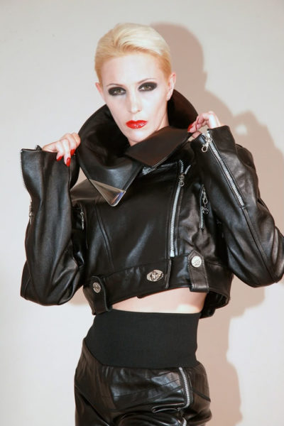 womens black leather biker jacket Hi Tek size XS
