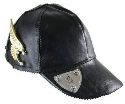 black leather baseball cap HI TEK unusal unique