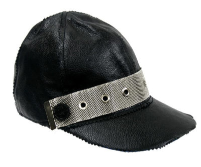 black leather baseball cap HI TEK