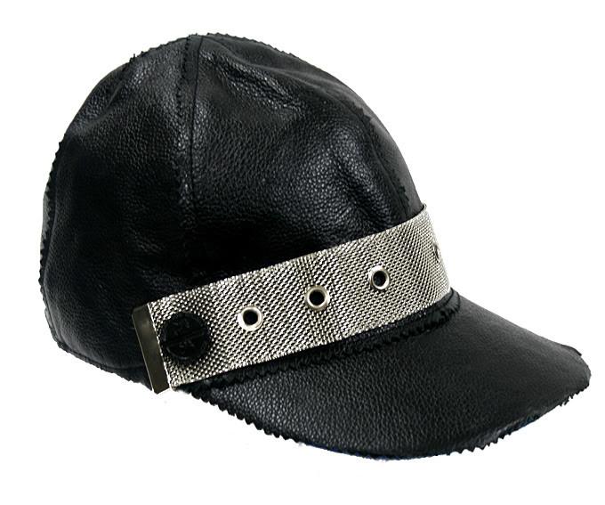 black leather baseball cap HI TEK