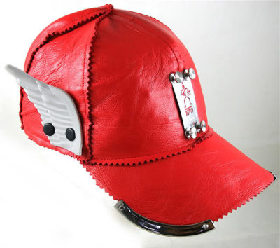 red leather baseball cap HI TEK with wing