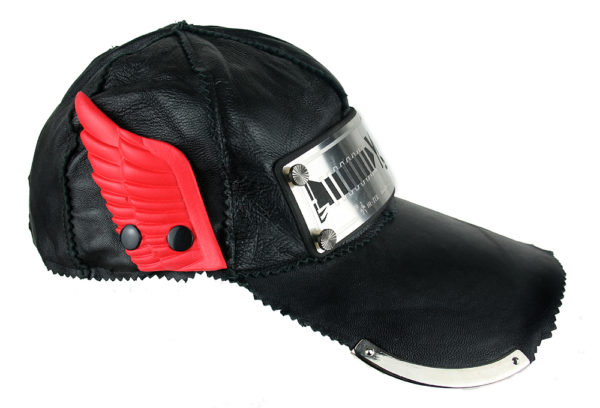 black leather baseball cap HI TEK unusual unique