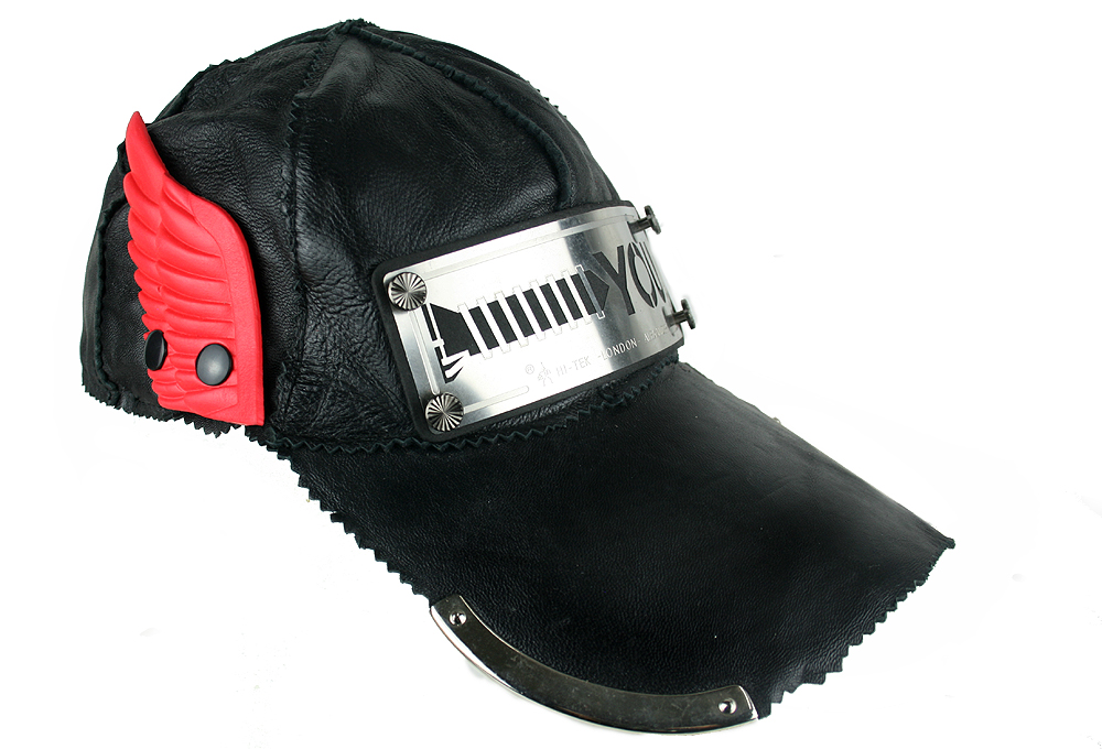 black leather baseball cap hi tek unusual unique hi tek