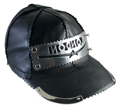 unisex black leather baseball cap HI TEK unusal unique