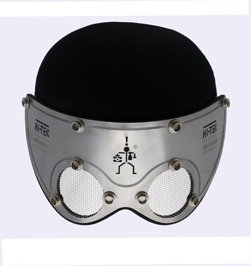 mask made of perforated stainless steel with hat HI TEK