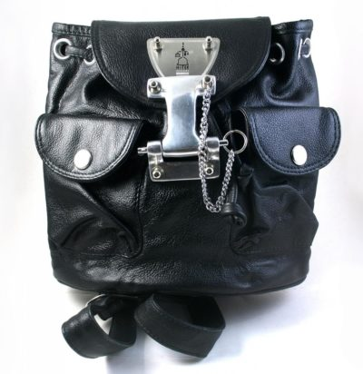 small black leather rucksack backpack for women Hi Tek unusual unique