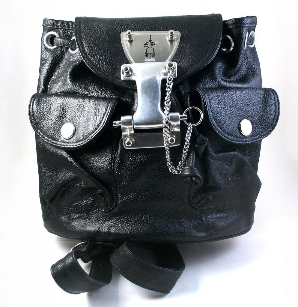 small black leather rucksack backpack for women Hi Tek unusual unique