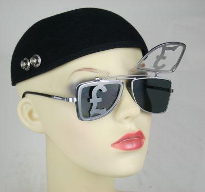 HI TEK Oblong square silver metal flip up sunglasses HT-OBFL-POUND