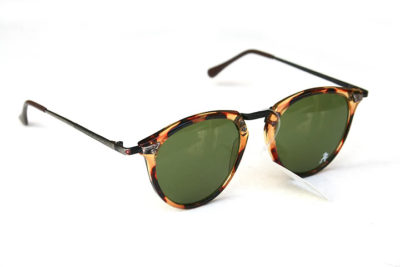 round tortoiseshell retro sunglasses green lens model HT-9105