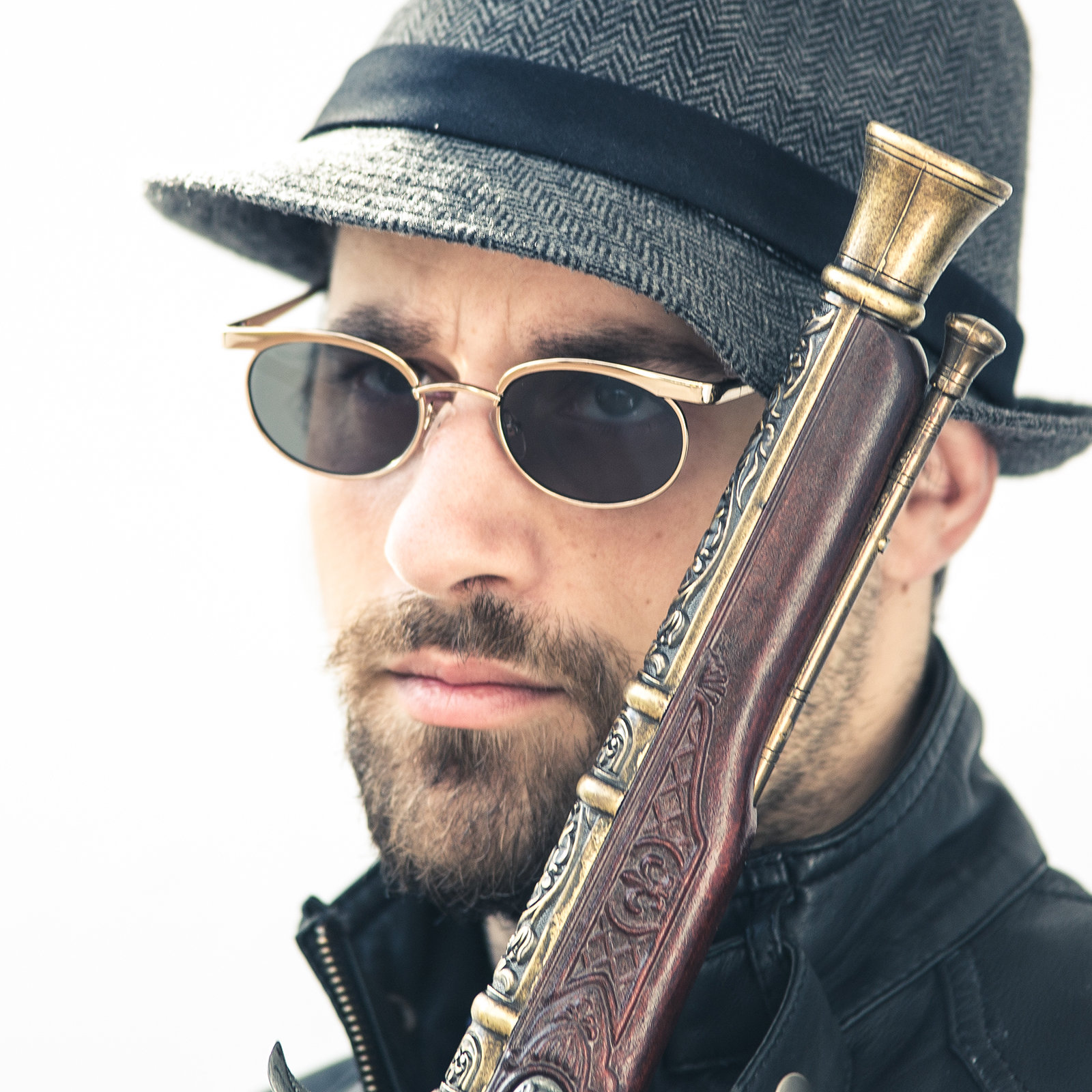 mens oval sunglasses retro Steampunk style gold frames ...