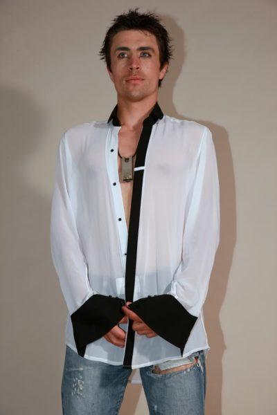 mens white silk dress shirt with black collar and cuff Hi-Tek