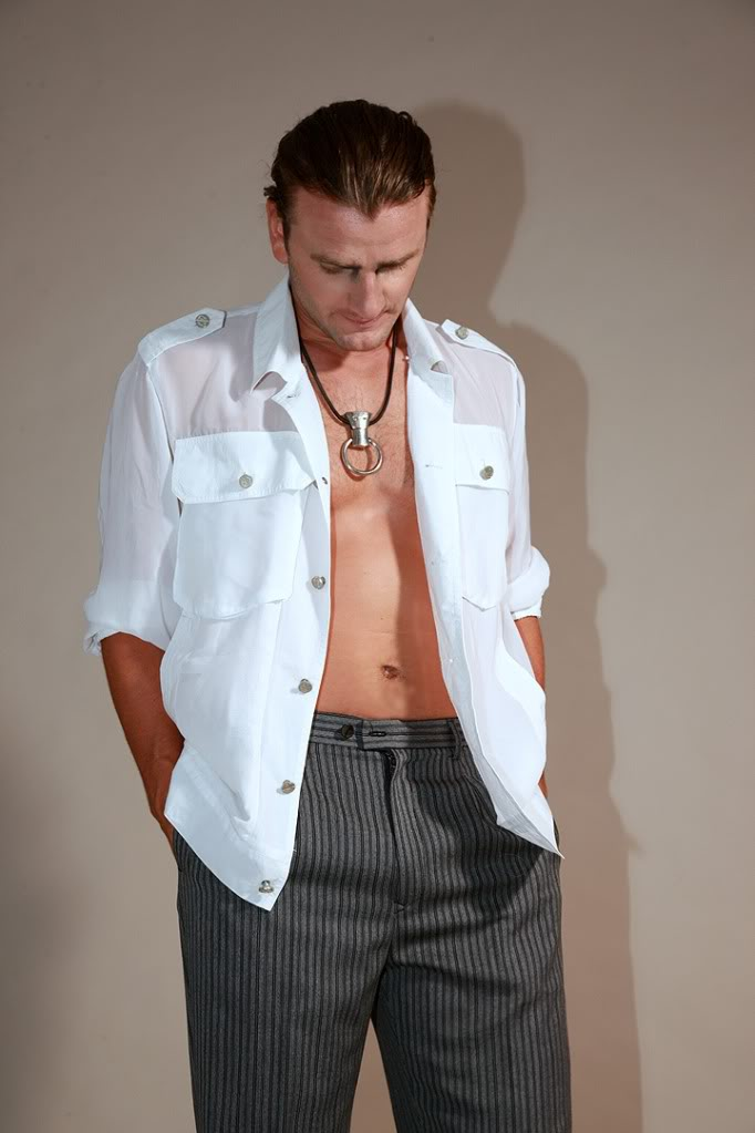Mens White Silk Georgette Safari Shirt Hi Tek Alexander