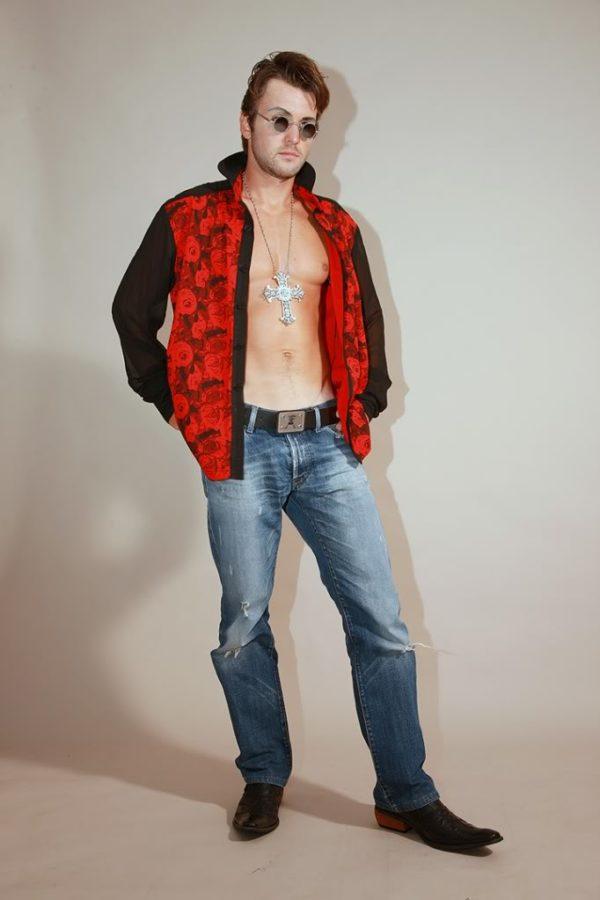 mens dress shirt red floral jersey and black silk Hi-Tek