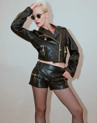 womens black leather shorts hot pants high waist size S