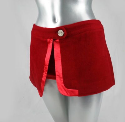 womens wool and cashmere red hot pants and skirt in one