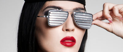 flip up sunglasses with metal blinder louver lenses