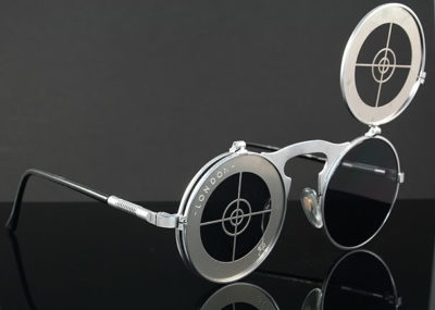 round flip up sunglasses silver metal Hi Tek Michael Jackson sunglasses