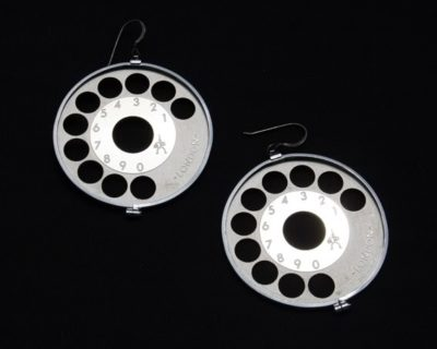 silver metal round hoop earrings HI TEK