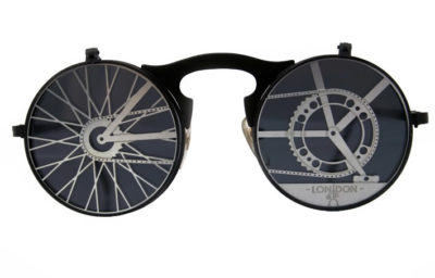 Round flip up sunglasses in Goth Steampunk style Hi Tek