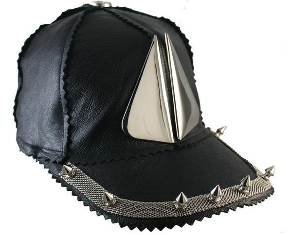 black leather baseball cap HI TEK unusal unique