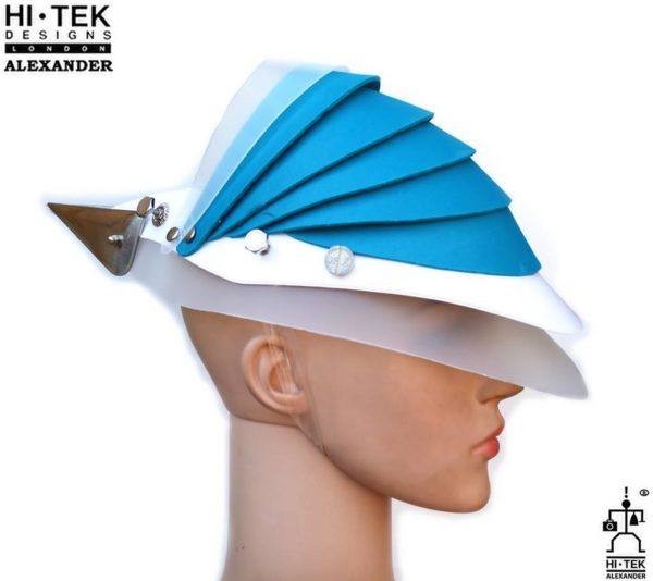 Hi Tek Alexander handmade modern futuristic, sci fi ,gothic ,steampunk unusual party eyewear alien leather mask hat