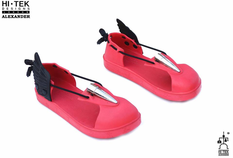 red EVA sandals for men with wings, Mercury wing sandals, unusual, unique, Greek mythology
