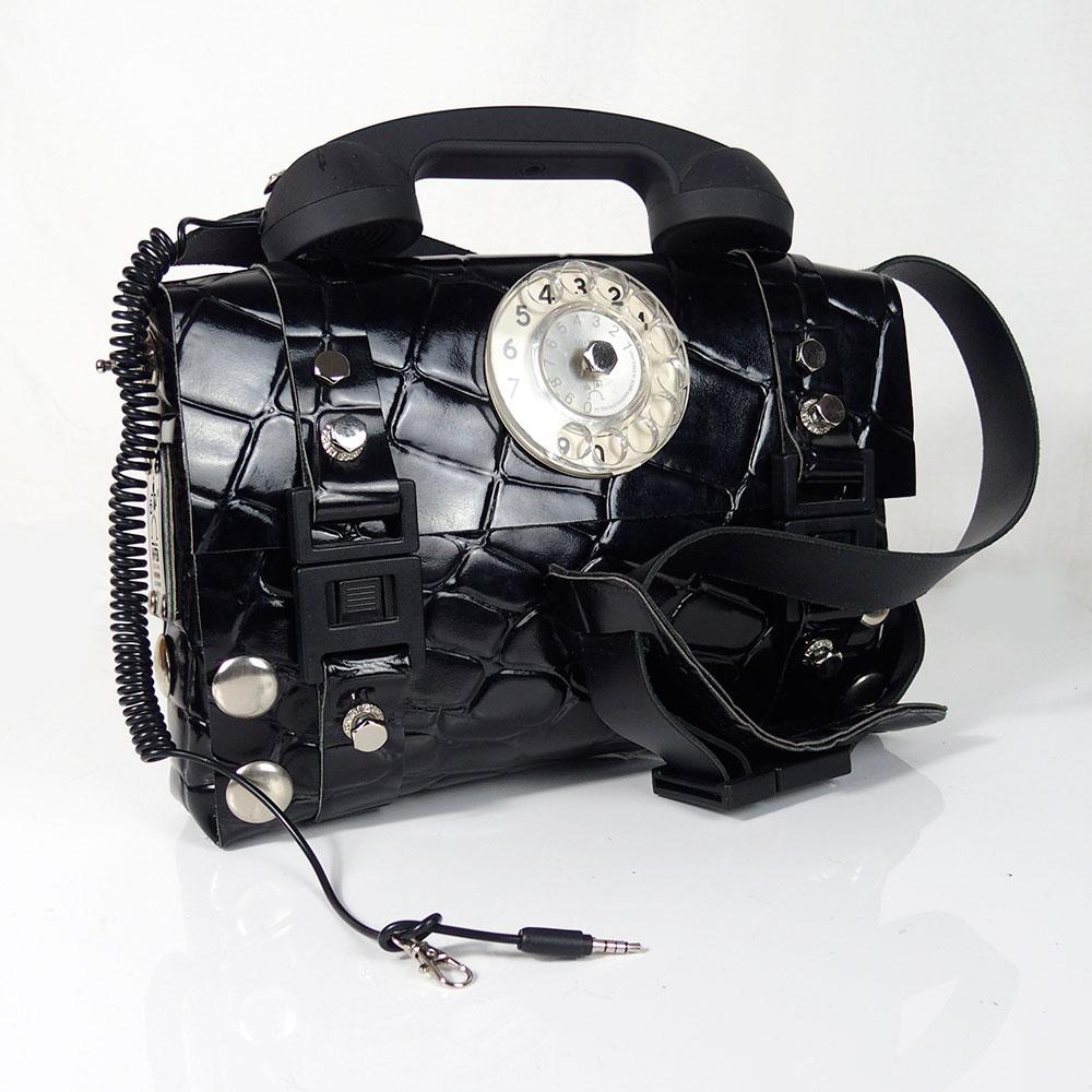 black leather shoulder bag, unusual, retro telephone handle