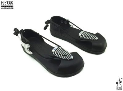 black EVA sandals with silver metal angel wings statement sandals for men unusual made to impress