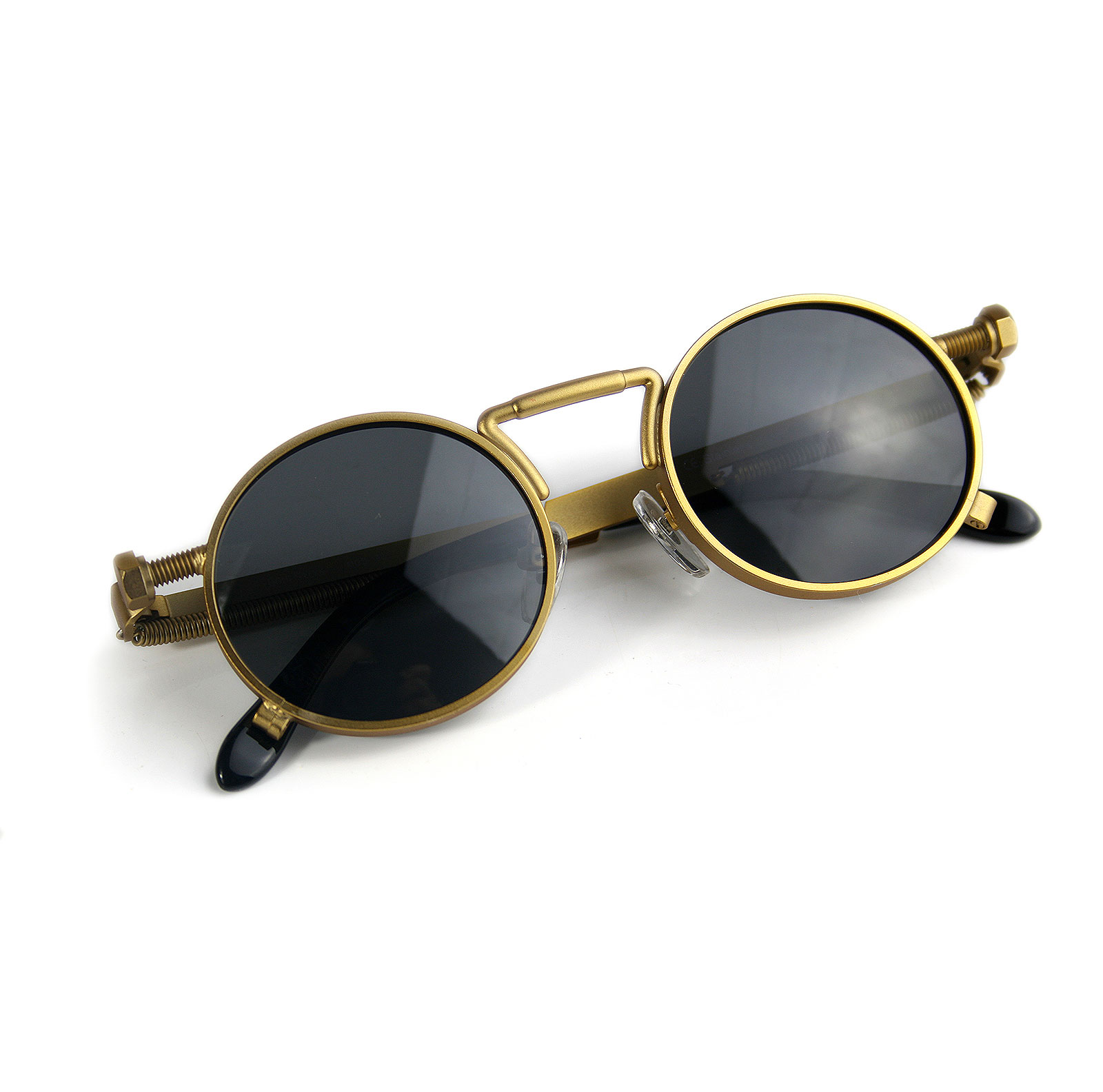 Round Gold Steampunk sunglasses spring on temples polarised lens  GS-1985 small