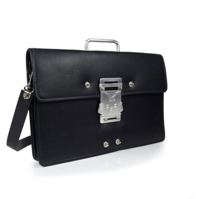 Vintage black leather briefcase with strap unusual handle